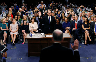 U.S. Supreme Court nominee Judge Kavanaugh is sworn in during his U.S. Senate Judiciary Committee confirmation hearing on Capitol Hill in Washington
