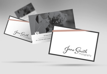 Business Card Layout with Photo Placeholder