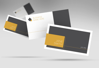 Business Card Layout with Gold Geometric Elements