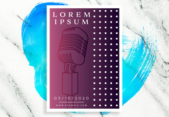 Flyer Layout with Microphone Illustration