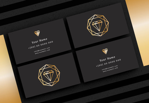 Business Card Layout with Diamond Illustration