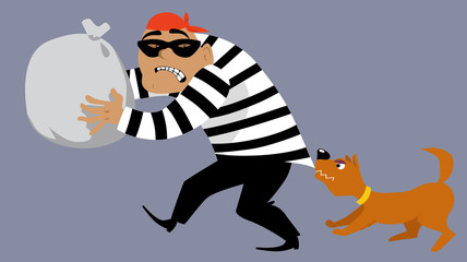 Dog stopping a criminal stealing a bag of goods, EPS 8 vector illustration