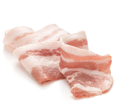 sliced pork bacon isolated on white background cutout