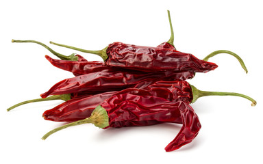 Canvas Prints Hot chili peppers Dried red chili or chilli cayenne pepper isolated on white background cutout