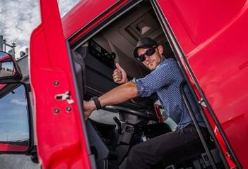 Truck Driver Thumb Up Wall mural