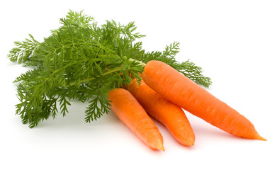 Fototapete - Carrot vegetable with leaves isolated on white background cutout