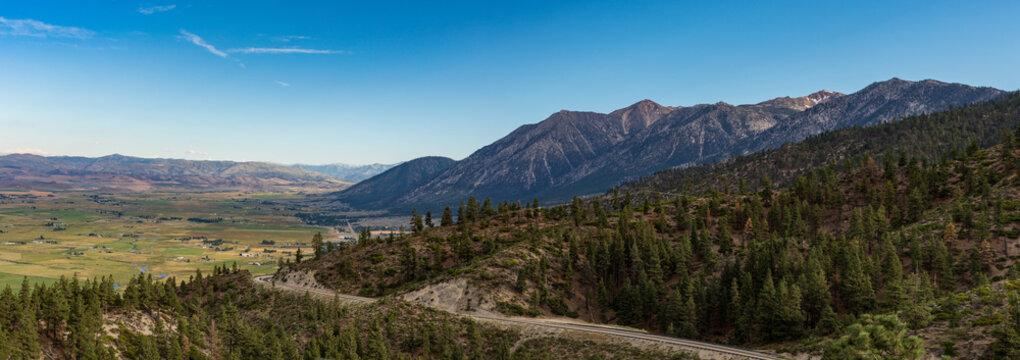 panorama looking back towards Gardnerville Nevada with Sierra mountain range