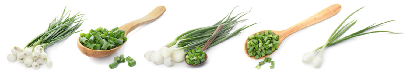 Set with cut green onion on white background