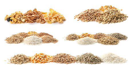 Obraz Set with different cereal grains on white background - fototapety do salonu