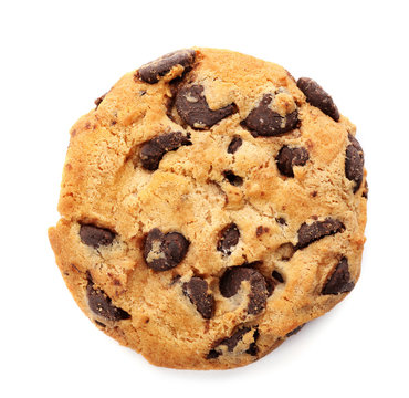 Tasty chocolate cookie on white background, top view