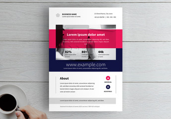 Business Flyer Layout with Magenta Photo Overlay