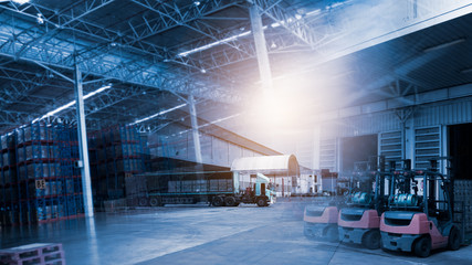 Modern Trade warehouse logistics, Transport and Forklift, Background of Transport and logistics supply chain,Industry 4.0 concept,planning of logistics.