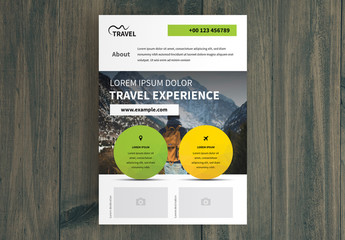 Business  Flyer Layout with Green and Yellow Circle Elements