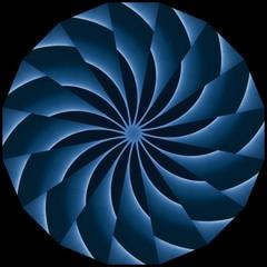 Light blue and dark blue spiral abstract pattern with dark background. Decorative element, web design, meditation, kaleidoscope, illusion.