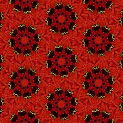 Multicolored red, gold, black mandala on red background with holiday Christmas pattern. Decorative element, ethnic design, web design, anti-stress therapy, meditation, kaleidoscope, holiday.
