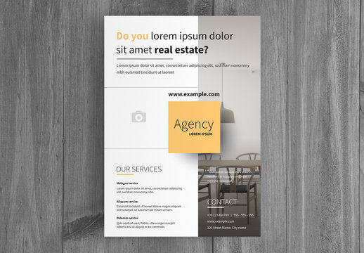 Business  Flyer Layout with Gray Sidebar