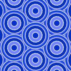 Seamless, blue, white geometric circle pattern. Abstract design, illustration for wallpaper, fabric, print.