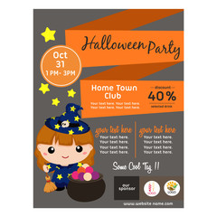 halloween poster with lovable cartoon wizard flat style