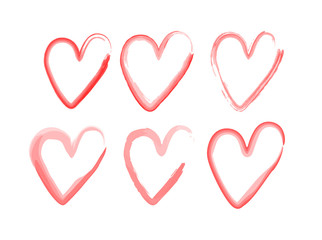 set of hearts with a brush, drawing by hand. Vector grunge style icons. Symbol of love by watercolor