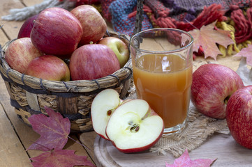 Autumn Apples with Glass of Apple Cider