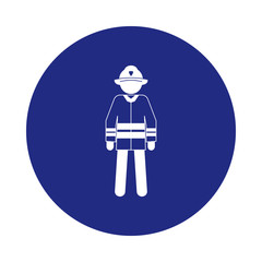 silhouette of a fireman icon in badge style. One of Special services collection icon can be used for UI, UX