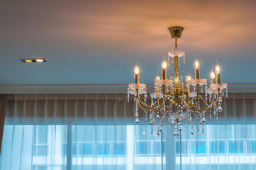 Beautiful Crystal lamp hanging from ceiling