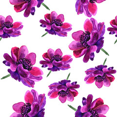 Seamless floral background. The full name of the flower is Anemone, flowers are made in watercolor
