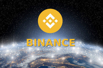 Concept of Binance coin Levitating  over world network, a Cryptocurrency blockchain platform , Digital mon