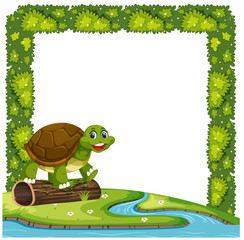 Happy turtle in nature frame
