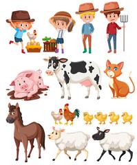 Farmer and animals on white background
