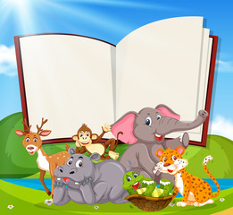 A blank book banner with wild animals