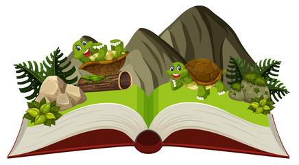Turltle in nature open book
