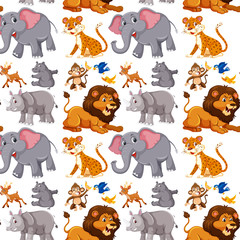 Wild animals seamless wallpaper