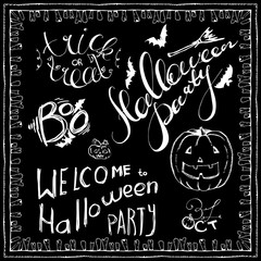 set of Halloween hand drawn elements, lettering and zombee teeth frame. Hand drawn sketches for your design of poster, cards, invitations, cover template of greeting card. Chalk drawing on blackboard