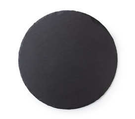 Black round stone plate with white background