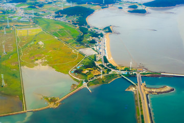 Aerial photos view of South Korea island