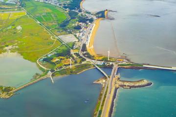 aerial photos view of South Korea island