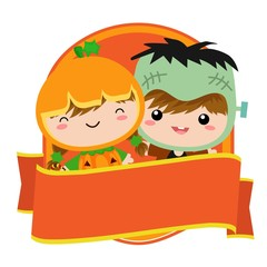 cute halloween badge with costume kids