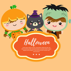cute template halloween with costume kids