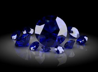 Beautiful gems on black background , 3D illustration.