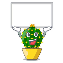 Up board mammillaria cactus planted in a cartoon pot