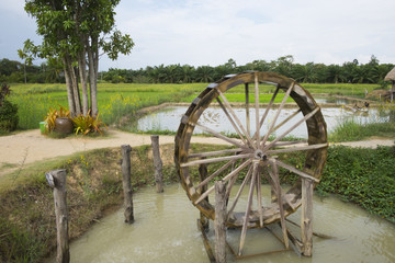 Wooden turbine for water baler in paddy field. Landscape nature.