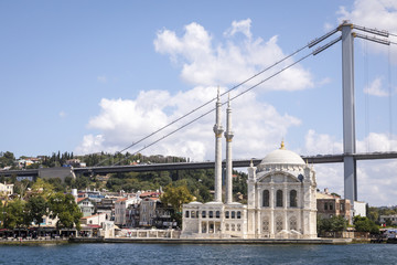 Landscape view of 15 July Martyrs Bridge or unofficially Bosphorus Bridge also called First Bridge