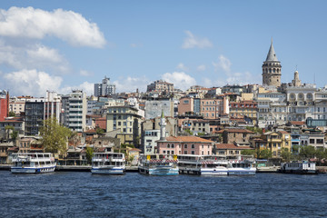Cityscape with Galata Tower and Gulf of the Golden Horn in Istanbul, Turkey.