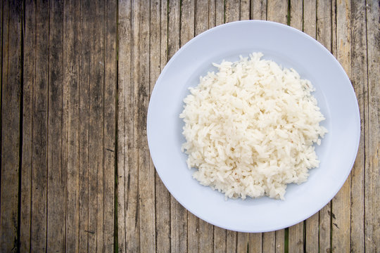 Cooked rice on a plate