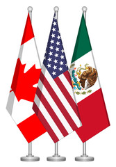 United States, Canada,and Mexico Flags, conceptual image for Nafta agreement