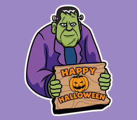 Smiling Frankenstein Give Halloween Greeting