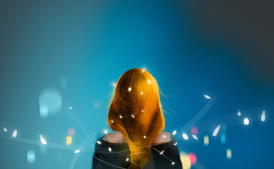 beautiful blonde red hair girl with Christmas fairy lights against dark blue midnight, digital illustration art painting design style.