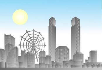 comic city scape, vector of city scape illustration