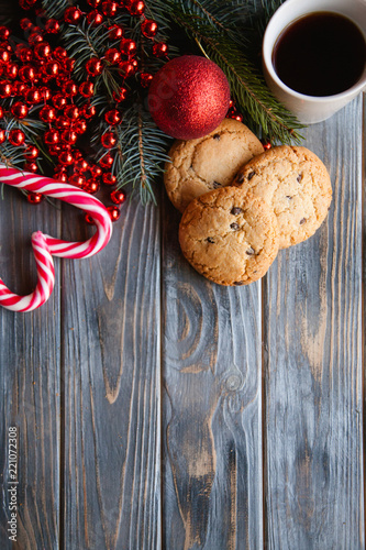 Holiday Seasonal Decoration On Wooden Background Chocolate Chip